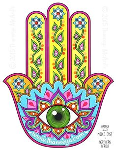 Hamsa Folk Art Coloring Page by Thaneeya