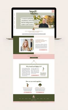 Custom branding and Showit website design for online marketing consultant Sam Burgess of Small and Mighty Co (previously Social Mouth Ltd). Design Websites, Web Design Tips, Web Design Tutorials, Design Blog, Page Design, Flat Design, Design Layouts, Ui Design, Custom Web Design