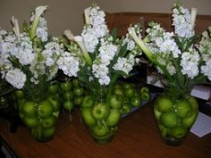 Apple Centerpieces with Calla Lilies, Stock and Snapdragons.