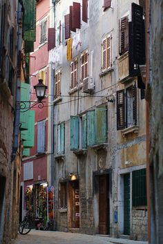 One of the beautiful narrow alleys in Rovinj, Croatia.