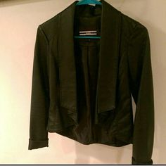 Black Drape Jacket LOWEST PRICE UNLESS BUNDLED  Perfect for Fall or Spring!  Not real leather but not cheesy looking either!  This drapey jacket is an updated alternative to the Moto jacket and works really well for going out! Please note the sides and under sleeves have a nice cotton/spandex panel for a flattering fitted look!  Only worn a couple of times, excellent condition!    Might be willing to trade :) Dynamite Jackets & Coats