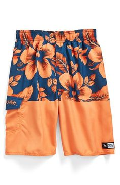 $34, Orange Floral Scarf: Rip Curl Aggrosplit Volley Swim Trunks Orange Floral Small. Sold by Nordstrom. Click for more info: http://lookastic.com/men/shop_items/128334/redirect