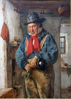 A man with a red scarf in a cottage pours whiskey into a flask (ArtistErskine Nicol)