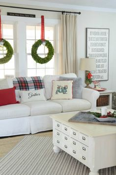 Christmas Home Tour 2016 I love the wreaths in the windows hanging from ribbon!!!