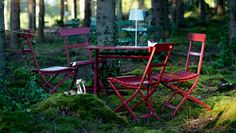 IKEA foldable garden furniture in the forest