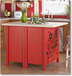 Two dressers, some spray paint, butcher block top or granite and you got yourself a terrific island.    D.