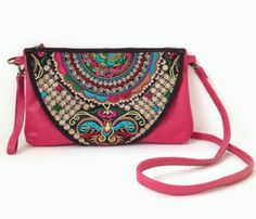 Boho Purse - Cute pink leather purse made with top grain leather - the bag is also designed with embroidery which will definitely spice up your look compared with ordinary designs.