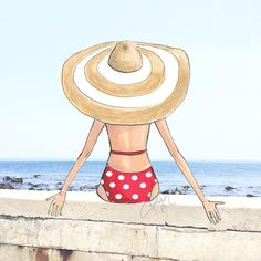 How nice of sketch babe to take a beach day without me! (at Scituate, Massachusetts) Beach Sketches, Cool Sketches, Beach Illustration, Copic Art, Am Meer, Illustrations And Posters, Fashion Illustrations, Beach Art, Fashion Sketches