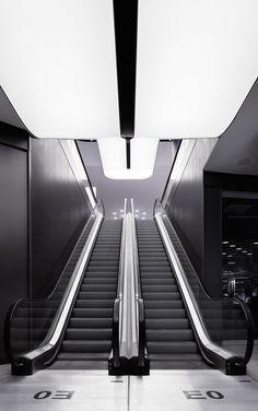 Our interior design for the new mall in Stuttgart's Gerber Quarter. Light Architecture, Interior Architecture, Stairs Architecture, Futuristic Architecture, Interior Lighting, Lighting Design, Shoping Mall, Interior Stairs, Interior Shop