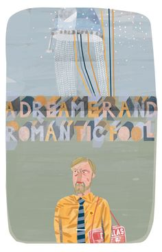 http://lostcontrolcollective.tumblr.com illustration A Dreamer and Romantic Fool Finished Duglas T. Stewart of the BMX Bandits with added space aliens flying over Bellshill also after reading this piece: http://www.theguardian.com/music/2016/jan/26/bmx-bandits-duglas-t-stewart-interview-30-years