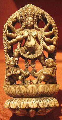 Wrathful Eight-Armed Deity Standing on Two Bird-Attendants. Nepal (Kathmandu Valley), 16th–17th century. Ivory, h. cm. 12.2. New York, The Metropolitan Museum.