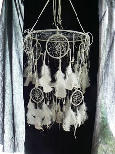 Want to make this in to baby mobile for a friend. Dream Catcher mobile by Winchestergems on Etsy, $15