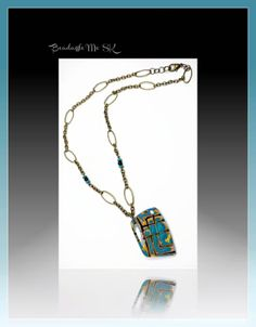polymer clay Lapiz Blue Statement Necklace Pendant by BeadazzleMe, $22.00