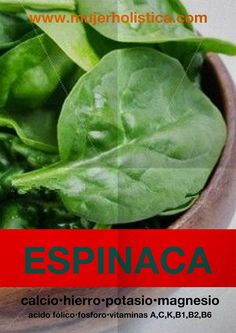 La espinaca está compuesta mayormente por agua. La cantidad de grasas e hidratos de carbono es muy baja pero es uno de los vegetales que más proteínas contiene. Es rica en fibras, especialmente los tallos. Excelente fuente natural de vitaminas y minerales.