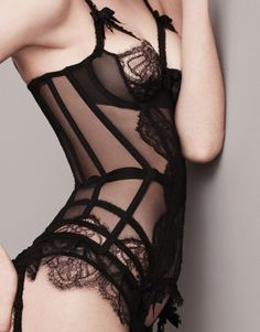 Christa - black lace basque by Agent Provocateur https://www.pinterest.com/disavoia22/