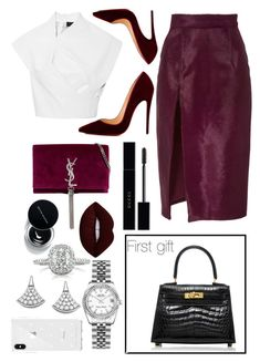 """""""B-DAY lunch with mum and dad ( they're just arrived)"""" by benedetta-ii ❤ liked on Polyvore featuring Hermès, Brandon Maxwell, Christian Louboutin, Lime Crime, Gucci, Yves Saint Laurent, Rolex, Mark Broumand, Bulgari and Rebecca Minkoff"""