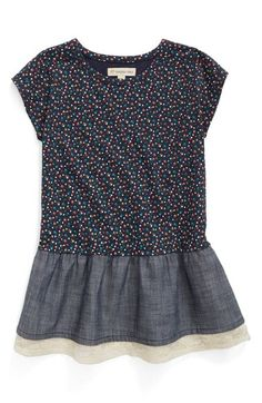 Tucker + Tate Floral Print Denim Peplum Tunic (Toddler Girls, Little Girls & Big Girls) available at #Nordstrom