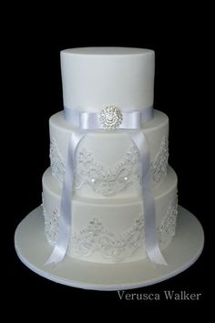 Lace Wedding Cake      needs prettier ribbon and monogram B