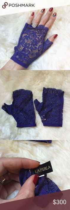 La Perla Purple Fingerless Lace Gloves Brand new with tags. Gorgeous stretch lace fingerless gloves. NO TRADES. La Perla Accessories Gloves & Mittens