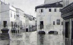 Riada del año 1892. En primer plano la Esquina Berrinche. Esquina de San jorge con la calle San Jacinto que conservaba sus soportales.