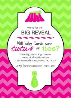 Tutus or Ties Gender Reveal Party Invitation by KPickensDesigns, $15.00