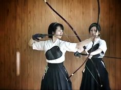 ... Japanese Girls in Kimono doing Kyudo (Japanese Archery) in Kyoto