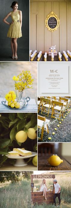 "lemon wedding ideas never looked so good :: I especially like the escort cards pinned into lemons ""fresh squeezed name cards"""