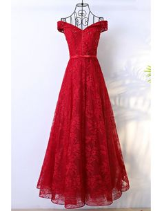 Shop Red Long Lace Formal Party Dress With Off Shoulder online. SheProm offers formal, party, casual & more style dresses to fit your special occasions. Formal Dresses For Men, Cute Dresses, Short Dresses, Prom Dresses, Halter Dresses, Prom Outfits, Teen Outfits, Bridesmaid Gowns, Ladies Dresses