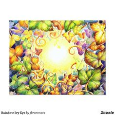 Rainbow Ivy Eye Card Like a sun shining through the card. Ivy, Postcards, Personalized Gifts, Create Your Own, Tapestry, Rainbow, Eyes, Illustration, Painting