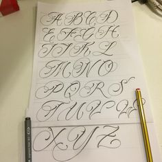 No photo description available. Calligraphy Tattoo Fonts, Tattoo Name Fonts, Cursive Tattoos, Calligraphy Cards, Calligraphy Letters Alphabet, Tattoo Fonts Alphabet, Hand Lettering Alphabet, Chicano Lettering, Graffiti Lettering Fonts