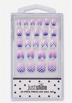 just shine purple foiltone press-on nail set