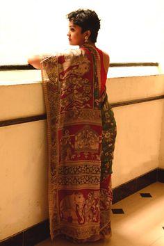 100sareepact   Elegant Handpainted Kalamkari Saree