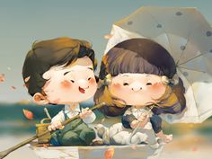 Sweet couple in boat illustration by Nguyen Thanh Nhan Children's Book Illustration, Character Illustration, Illustration Children, Children Sketch, Illustrator Tutorials, Cute Drawings, Art Pictures, Illustrations Posters, Cute Art
