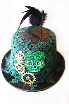 Black Steampunk hat size 59cm with emerald by mandicandiboutique, £38.00