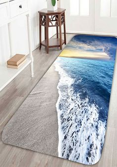 Sea Beach Print Antislip Flannel Water Absorption Rug | For The Home |  Bathroom Rugs, Rugs On Carpet, Bathroom Carpet
