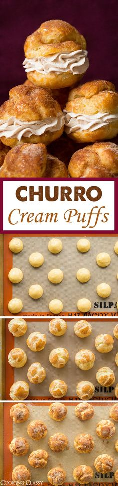 Churro Cream Puffs - Cooking Classy Churros meet cream puffs in this creative and delicious treat thought up by Barbara Schieving of Barbara Bakes. Fun Desserts, Delicious Desserts, Dessert Recipes, Yummy Food, Dinner Recipes, Drink Recipes, Mexican Food Recipes, Sweet Recipes, Mexican Desserts