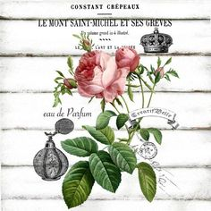 rosa cuadro mueble pintar French Vintage Rose Perfume Label Large A4 Instant by CreatifBelle