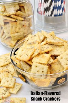Snacks are definitely needed for after-school, lunches, football season and family activities! Turn mini Saltines into Italian-Flavored Snack Crackers that ar Seasoned Saltine Crackers, Saltine Cracker Recipes, Gourmet Recipes, Appetizer Recipes, Snack Recipes, Cooking Recipes, Football Snacks, Football Parties, Best Cheese