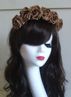 Rose Floral Flower Garland Crown Headband Hair Band Bridal Festival Holiday Brn