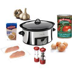 Easy healthy crock pot chicken  Chicken & italian diced tomatoes