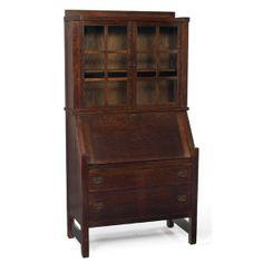 167 Lifetime Secretary Two Gl Door Rookwood Potteryarts And Crafts Furniturearts Movementgl