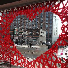 Valentine window made with red tape Crafty Toronto - Nadege Window