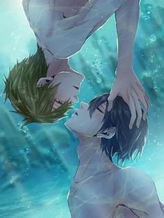 Yaoi! Makoto and Haru, Free!, underwater, kiss, ecstasy, drawing