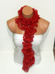 The scarf is knitted with red soft yarn Long by WomanStyleStore, $21.00