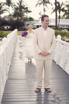 Teal and Tan Beach Wedding Groom's First Look photo by Reign7Photo.com