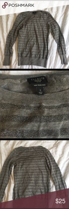 Talbots, Italian Merino sweater. Talbots, merino blend, long sleeved, silver stripped sweater. This sweater is a thinner knot, great seasonal transition piece. Looks great dresses up or down. Only worn once to a Christmas party, and only for a few hours. Comes dry cleaned. No trades.                                            Length 22 inches. Chest 16 inches. All measurements made flat.  I offer a 20% off 2 bundle! Talbots Sweaters Crew & Scoop Necks