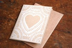 Set of Six Block Printed Cards by ShopKatharineWatson on Etsy