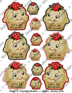 2 page Digital Collage Sheet set of Creamy White Valentine's Day Cupcakes that I designed perfect for your Valentine's Day projects! Thanks for looking!  Heather