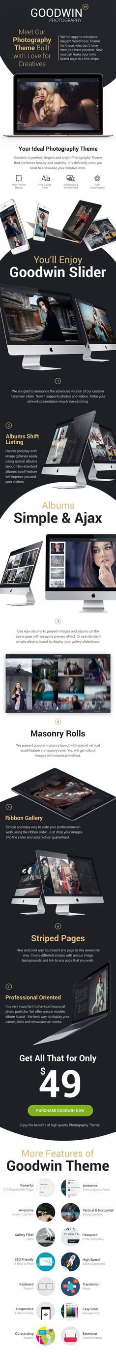 Photography – GoodWin Photo & Video WordPress ThemeAbsolutely fantistic, modern and creative WordPress theme specially designed and developed for photographers and videograpgers. The fullscreen la...
