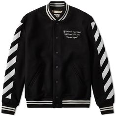 Off-White Letterman Jacket (£505) ❤ liked on Polyvore featuring men's fashion, men's clothing, men's outerwear, men's jackets and men